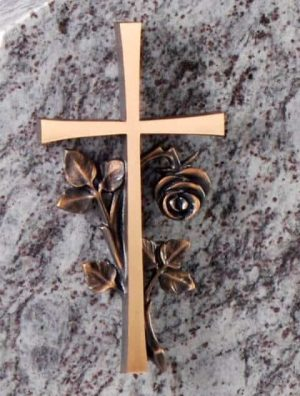 Bronze cross and entwined rose BRZ002
