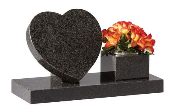 EC243 Heart Memorial with Side Vase
