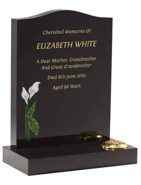 EC32 Dense Black Memorial with Painted Lilies