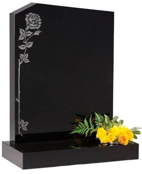 EC34 Unusual Peon Top headstone with Roses