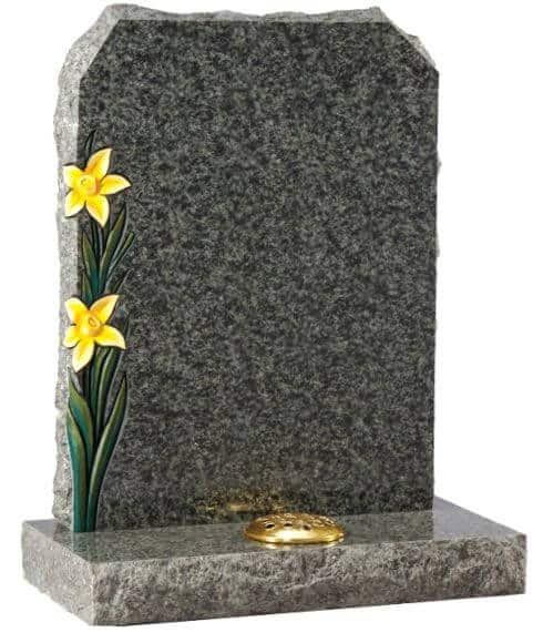 EC67 Boulder with Carved and Painted Daffodils