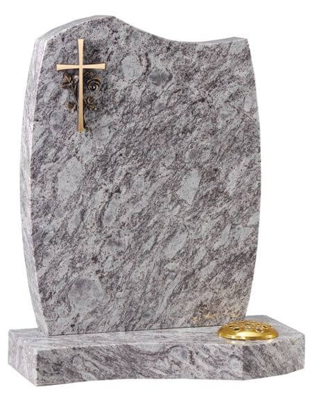 EC7 A Bronze Cross and Rose on Lavender Granite