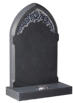 EC79 Gothic Style Headstone with Carved Roses
