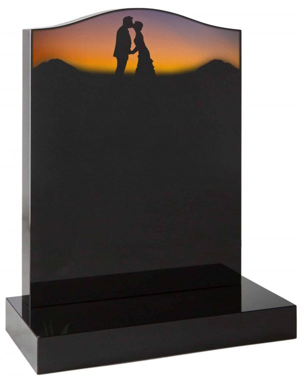 Ogee headstone with painted romantic silhouette