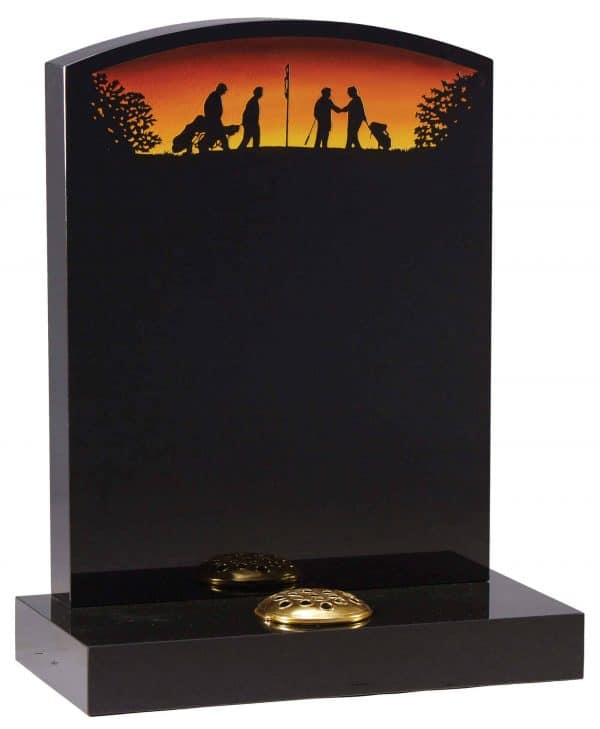 Oval top Headstone with painted Golf scene