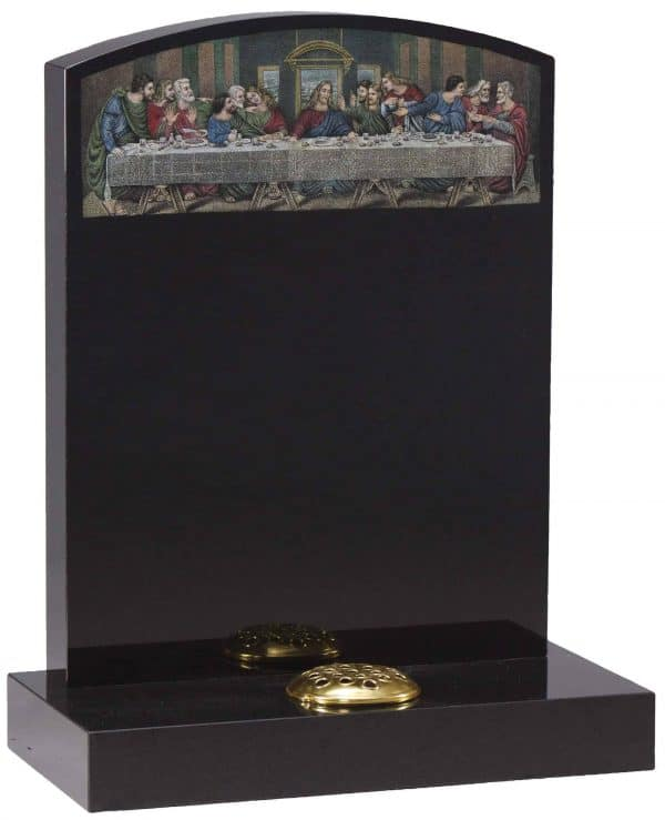 Oval top headstone with painted last supper