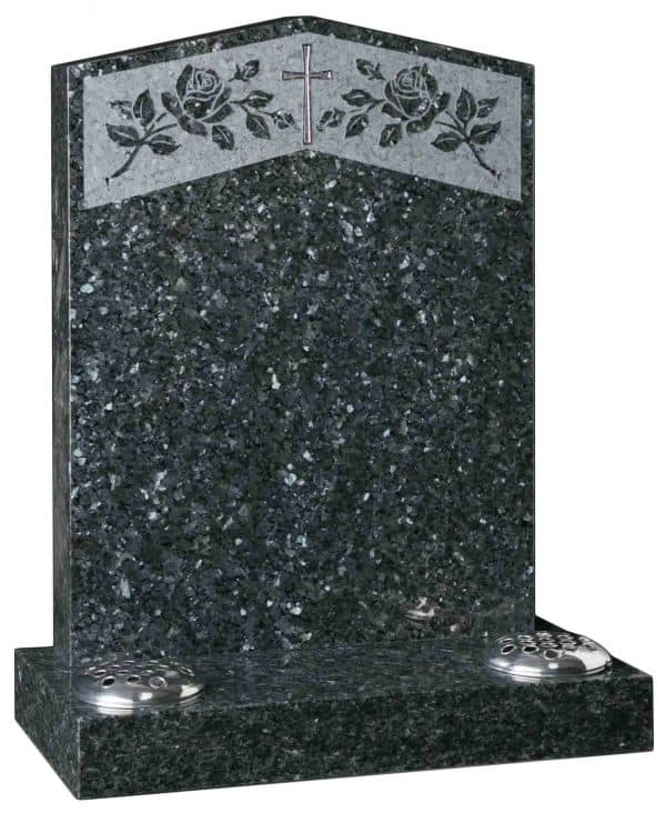 Peon Headstone with rose design and cross