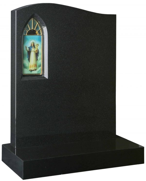 Offset Ogee headstone with stained glass panel