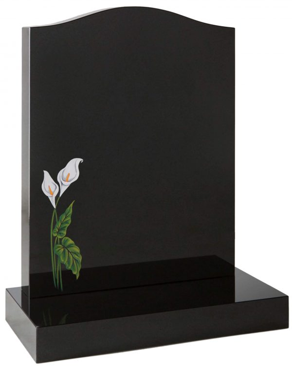 Ogee headstone with painted lily design