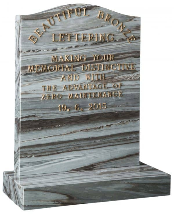 Ogee headstone in silk wave granite and raised bronze letters