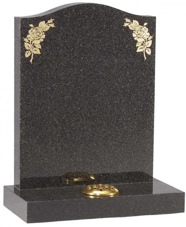 Ogee design headstone with gold rose design
