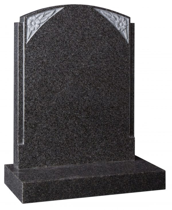 Arc top headstone with carved rose design
