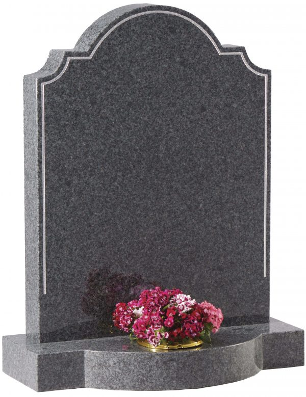 Ornate top headstone with pin line border