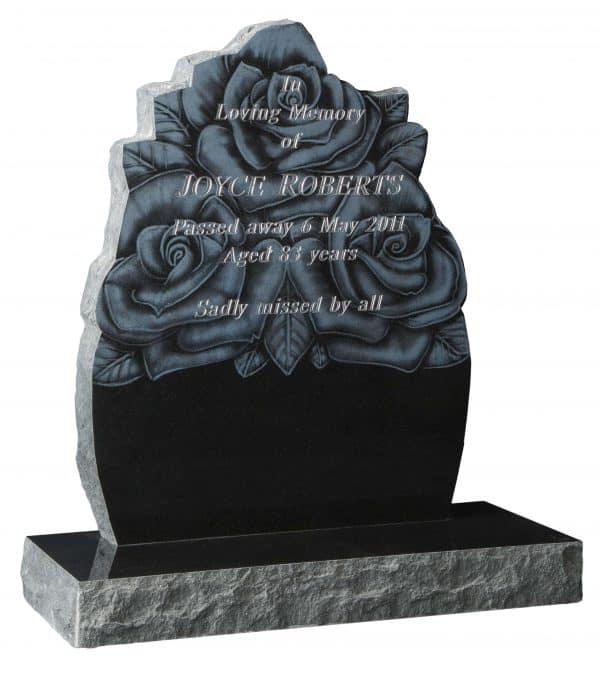 Ornate headstone with laser etched rose design