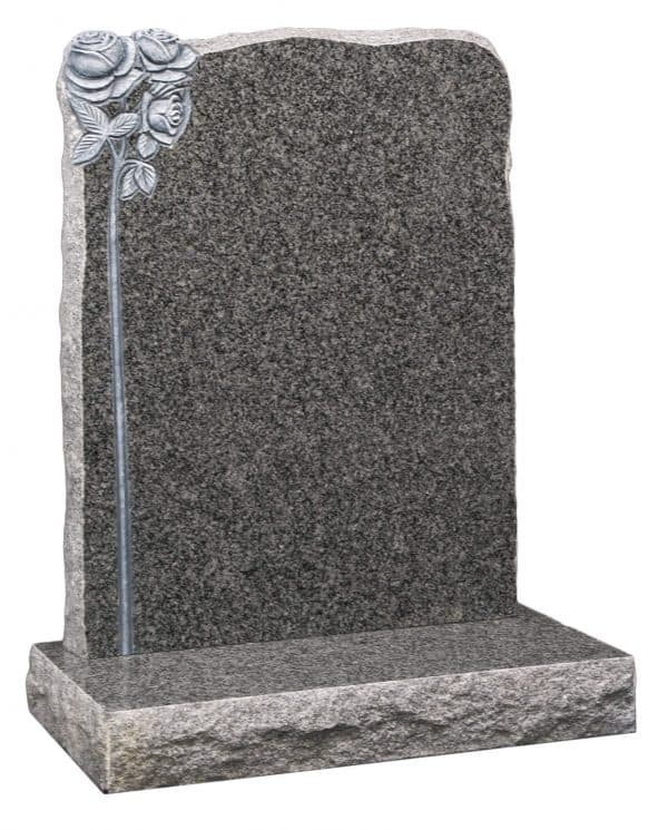 Square top with carved rose design headstone