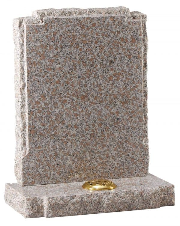 Rustic edges with ornate square top headstone